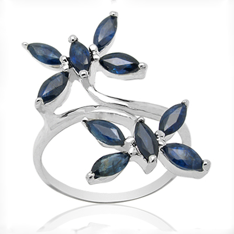 Anillos Qi Xuan_Dark Blue Stone Luxury Rings_Fashion Ring_S925 Solid Silver Fashion Dark Blue Rings_Manufacturer Directly Sales