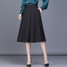 Woman Plus Size A Line Black Skirt Spring Autumn New Korean Style High Waist Pleated Midi Elegant Office Lady