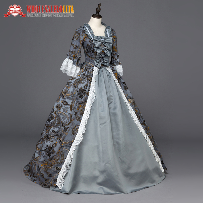 17 18th Century Gray Floral Marie Antoinette Off the Shoulder ...