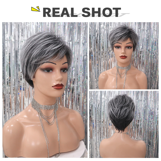 ELEMENT 6 Inch Short Heat Resistant Synthetic Wig Gray Mix White Color Natural Hairline Party Work Wigs for Women Free Shipping