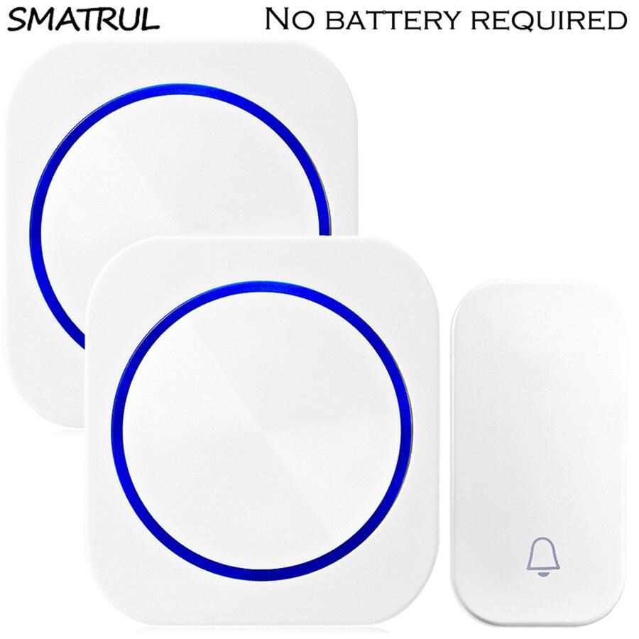 SMATRUL auto alimenté sonnette sans fil étanche nuit lumière sans batterie UE plug accueil sonnette anneau 1 2 bouton 1 2 Récepteur