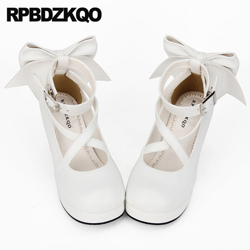0cba81967e9f Big Size Cross Strap Bow White Crossdresser Platform Shoes Pumps Round Toe  4 34 12 44