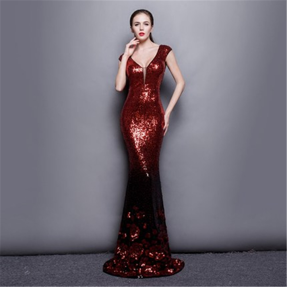Bling Bling 2017 Luxuries Elegant Long Evening Dress Mermaid Evening Dresses V-Neck Sequind Prom Pageant Dress Custom made