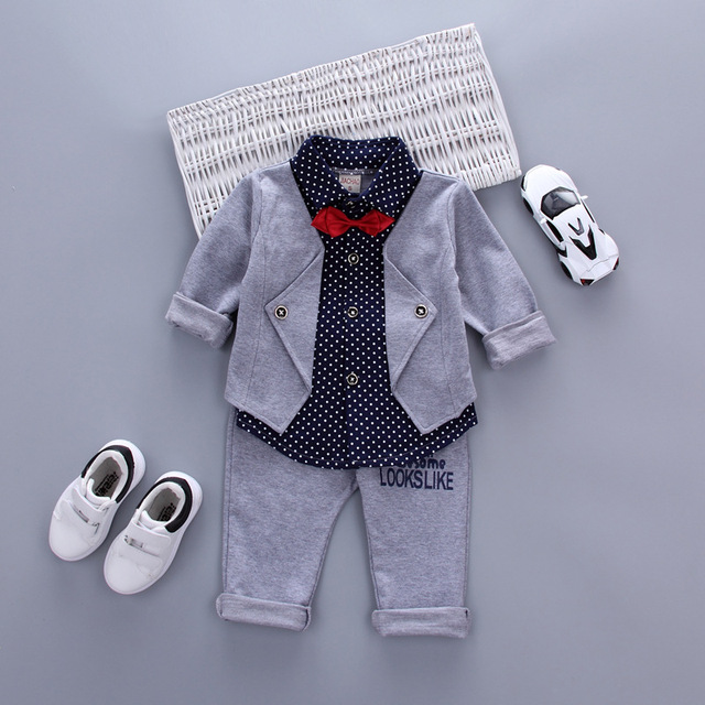 Hot Sales Infant Baby Boys Sets Red Plaid Long-sleeved Shirt+ Pants 2pcs Outfits Toddlers Bow Tie Set Clothes 2017 Spring
