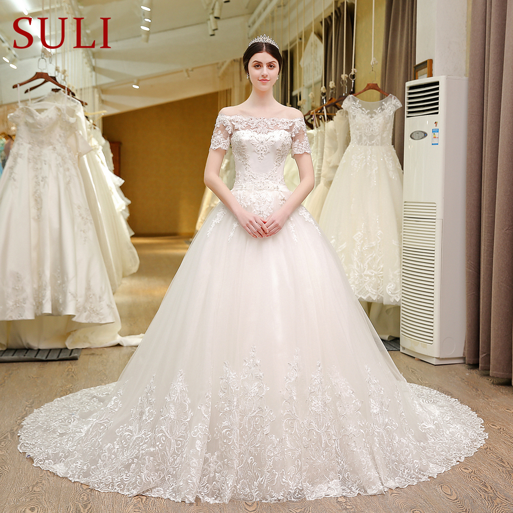 Short Sleeve Wedding Dress: SL 5T Boat Neck Wedding Gowns Lace Short Sleeve Muslin