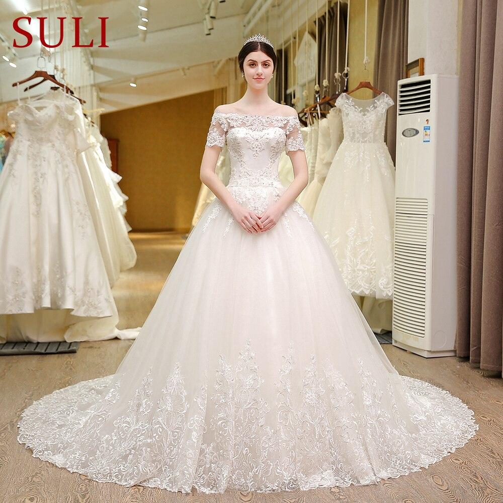 SL 5T Boat Neck Wedding Gowns Lace Short Sleeve Muslin Boho Wedding ...