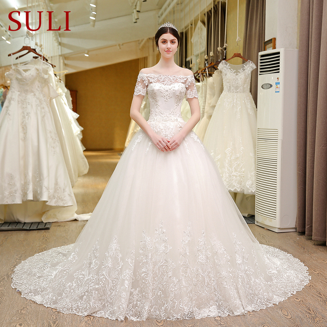 SL 5T Boat Neck Wedding Gowns Lace Short Sleeve Muslin Boho Wedding ...