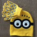 2pcs/set Hot Sale Children's Winter Cartoon Minions Glove Hat Sets Fashion Kids Baby Warm Knitted Caps Gloves E906