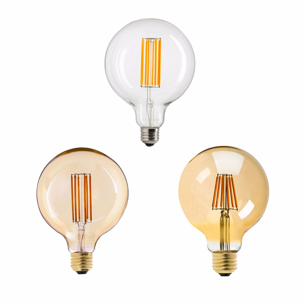 6W 8W 2200K Edison Industrial E26 E27 Retro Vintage Spiral Filament Lights Bulb 110V 220V G125 /G40 dimmable g125 led filament bulb light edison e27 base 110v 240v ac g125 4w 6w 8w free shipping