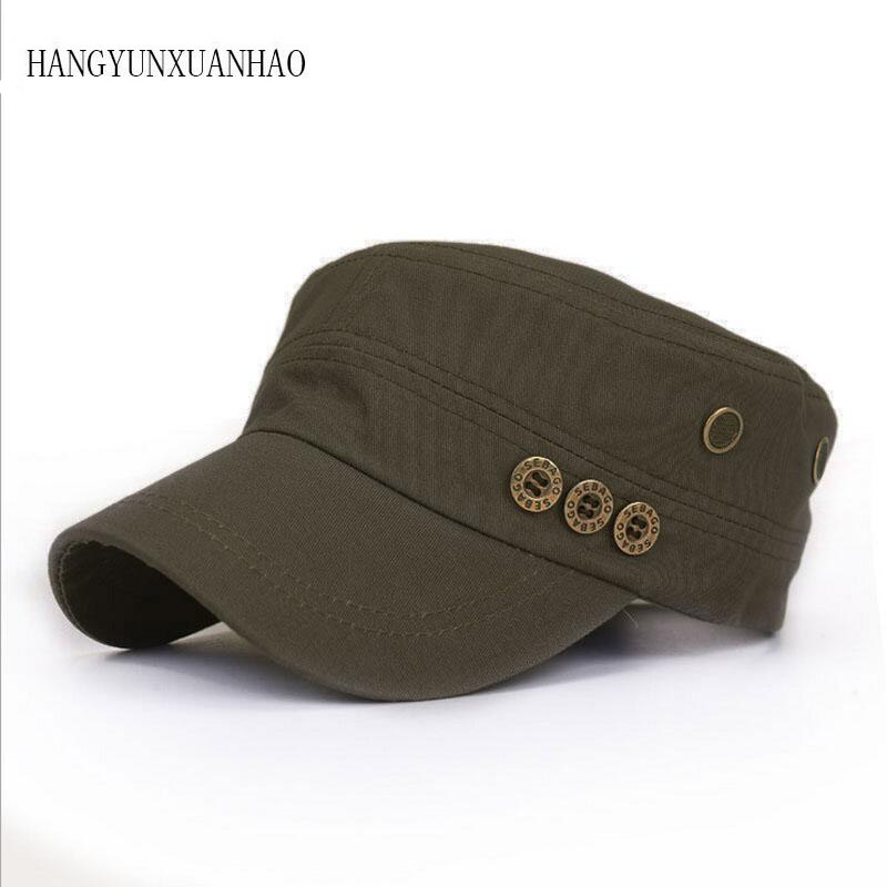 Men Army Military Caps Cotton Solid Cap Green Flat Top Hat Adjustable Hunting