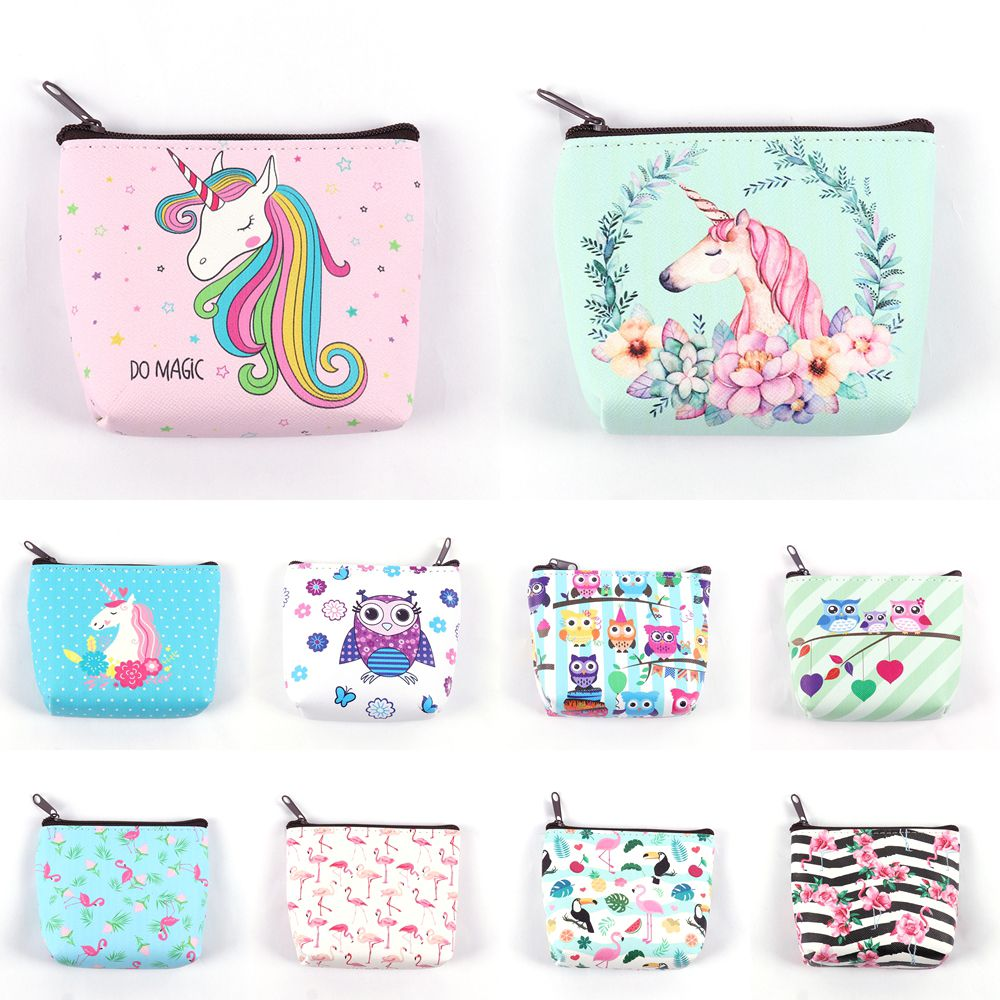 Coin Purse Wallet Card-Holder Key-Pouch Cartoon-Bag Make-Up Unicorn/flamingo-Printing title=