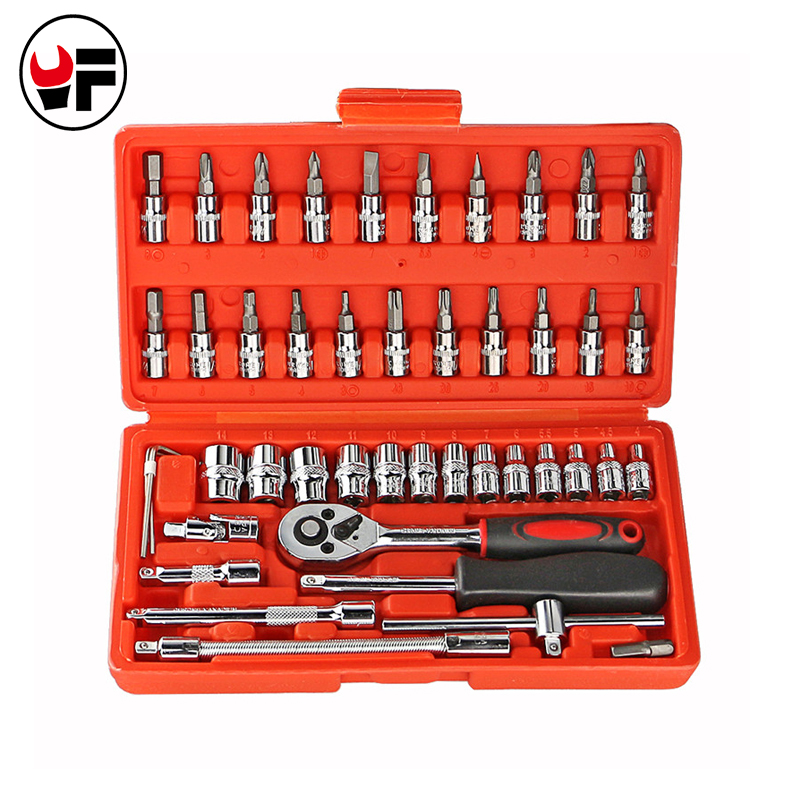 Hotsale 46 Pieces 1/4-Inch Combination Socket Set Ratchet Torque Wrench Set Car Auto Repair Hand Combo Tool A Set OF Keys DN101