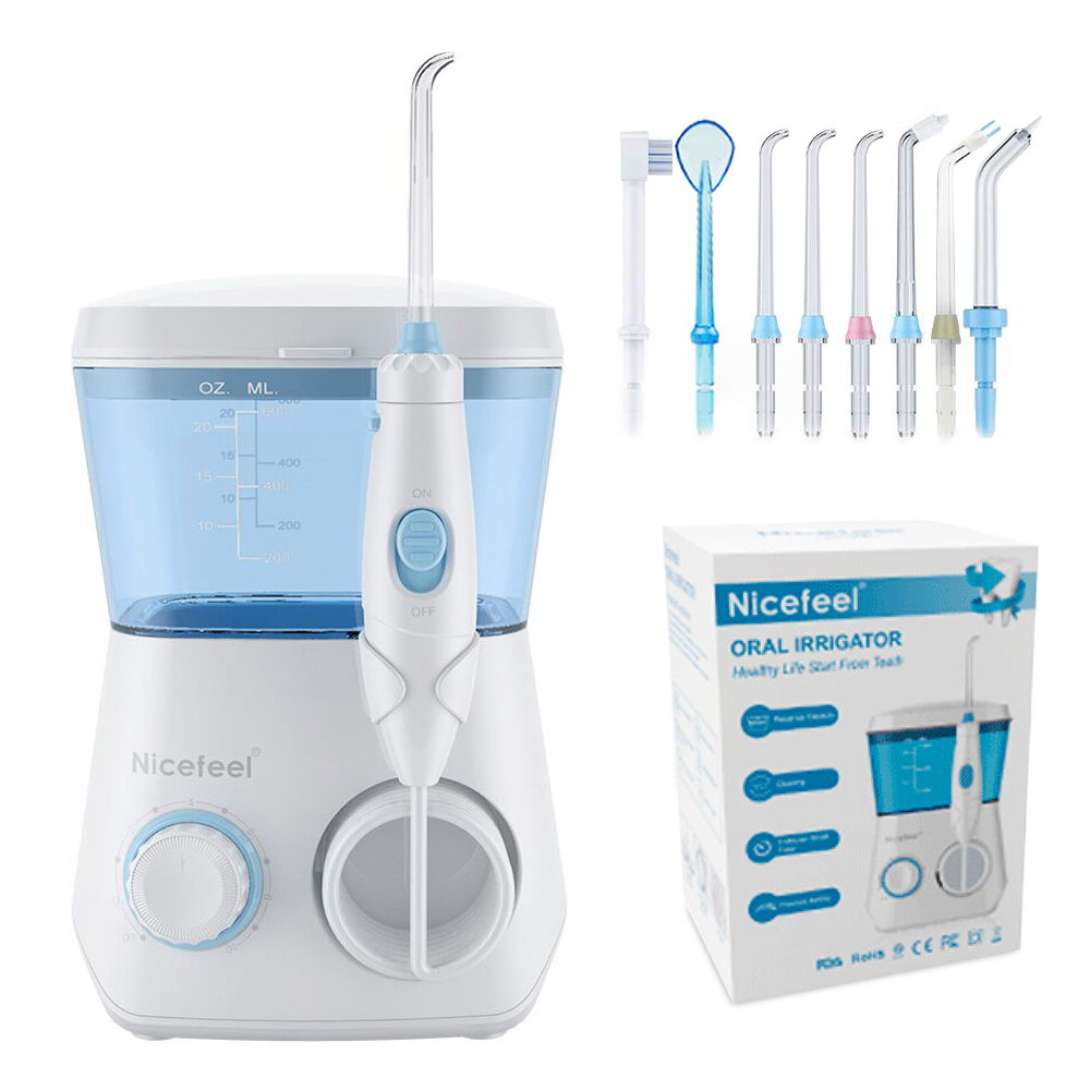Nicefeel Oral Irrigator Water Flosser Dental Jet Teeth Cleaner Hydro Jet With 600ml Water Tank & 7 Nozzle And 1 Toothbrush