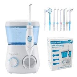 Nicefeel irrigator oral água flosser dental jato dentes mais limpo hidro jet com 600ml tanque de água & 7 bocal e 1 escova de dentes