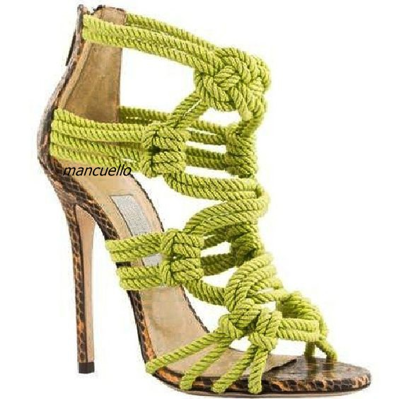 Trendy Green Rope Style Sandals Classy Cross Strap Open Toe Stiletto Heel Dress Sandals Drop-shipping Women Shoes Hot Selling trendy style stiletto heel and double buckle design women s sandals