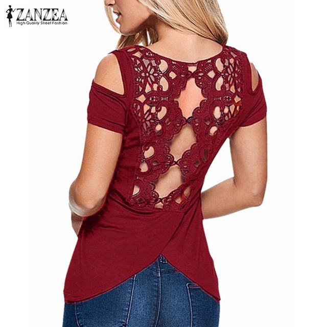 2016 Summer Sexy Blusas Retro Lace Short Sleeve Hollow Backless Off Shoulder Tee Tops Solid Blouse Shirt ZANZEA Women Plus Size