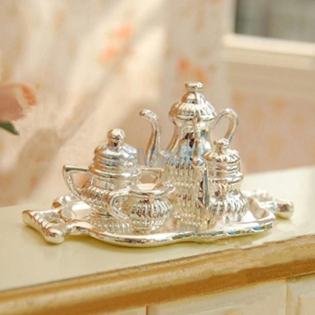 Free Shipping 1/12 Dollhouse Miniature Silver Metal Wine Set-5 PCS