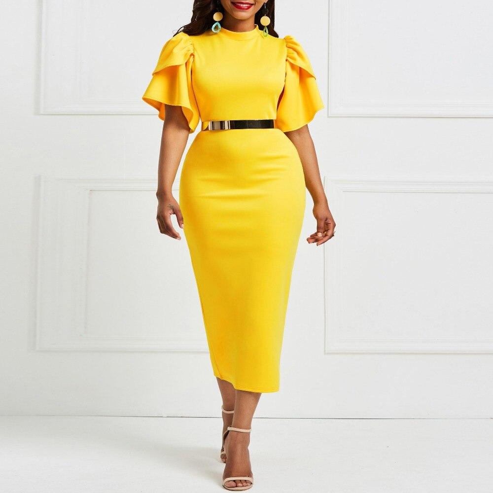 Kinikiss 2019 femmes bureau robe dames jaune robe de travail fille à volants zipper grande taille soirée été moulante robe mi-longue