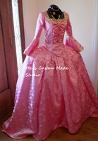 Custom Made Marie Antoinette French Colonial Beethoven Waltz Pink Masquerade Ball Venice Mardi Gras Panniers Dress Gown Costume