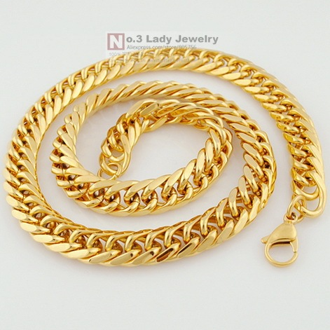 60cm,11mm, MENS Gold Plated Stainless Steel Chain Necklace Hip Hop Jewelry 2015, PUNK, Wholesale Free Shipping WN120