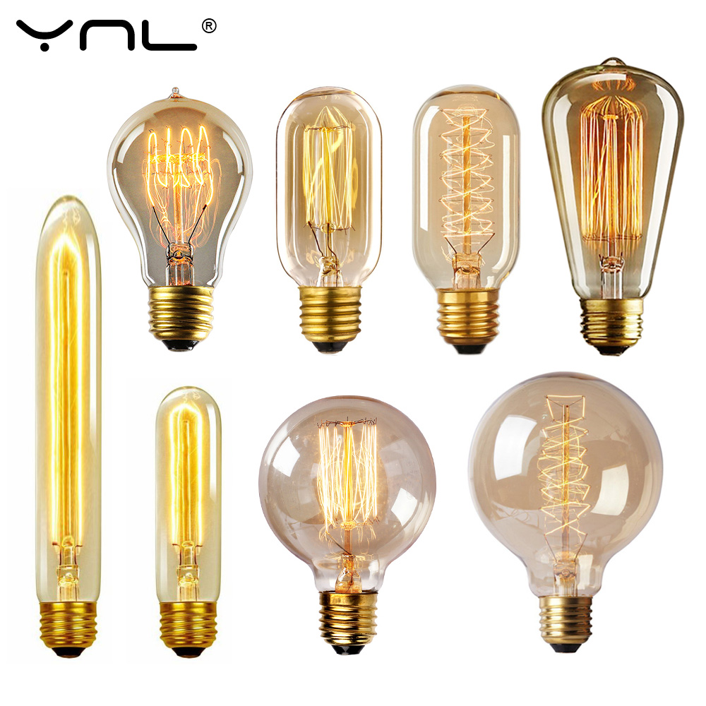 Edison Bulb Lampada Retro Lamp Incandescent Ampoule Vintage E27 40w 220V For Decor Filament Bulb E27 Pendant Lights Antique Bulb
