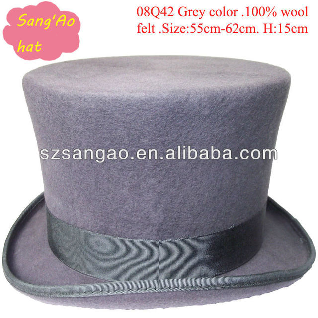 e629e7df2e3 Wholesale perfect grey15cm wool tall top caps round fedora for man and  ladies100% wool wear for festvial  party wedding meeting