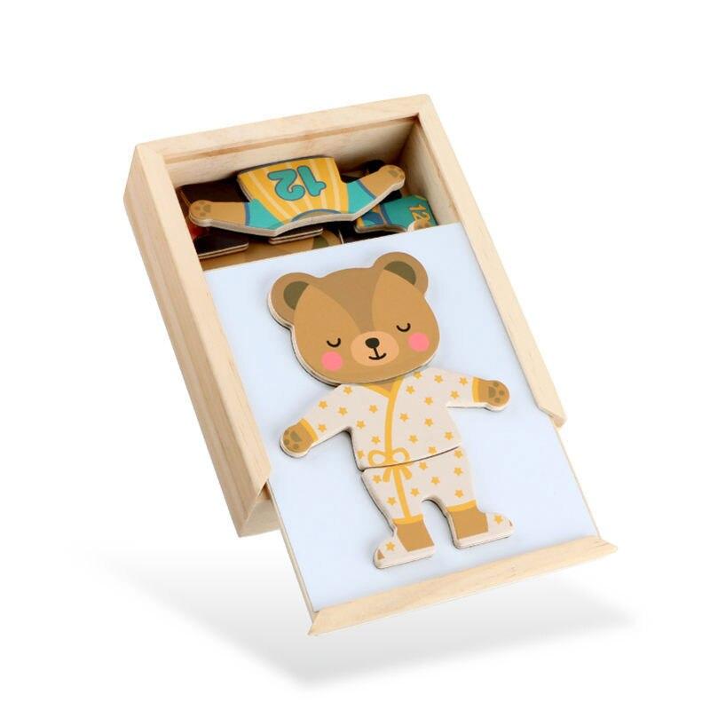 Детские игрушки, деревянные головоломки раннего Магнитная Туалетная изменение медведь коробка развивающие деревянные головоломки для дет...