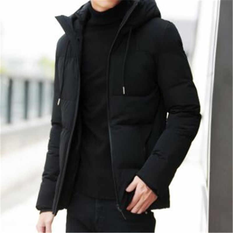 47e378d579a ... Брендовая зимняя куртка мужская одежда 2018 Повседневная воротник-стойка  с капюшоном воротник модное зимнее пальто ...