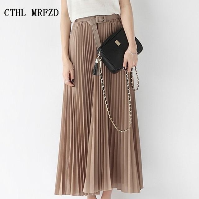 56a031f936 2018 Summer New Fashion Elegant Bohemia Chiffon Pleated Elastic Waist Women  Floor-Length Long Maxi Tulle Beach Skirt With Belt
