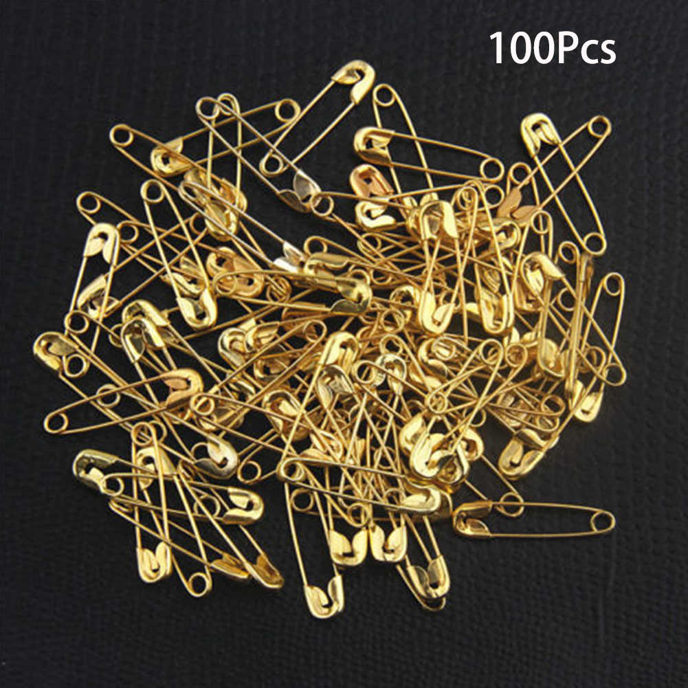 100Pc Needles Safety Pins Gold Small Sewing Craft Clothes Tag Accessories Useful