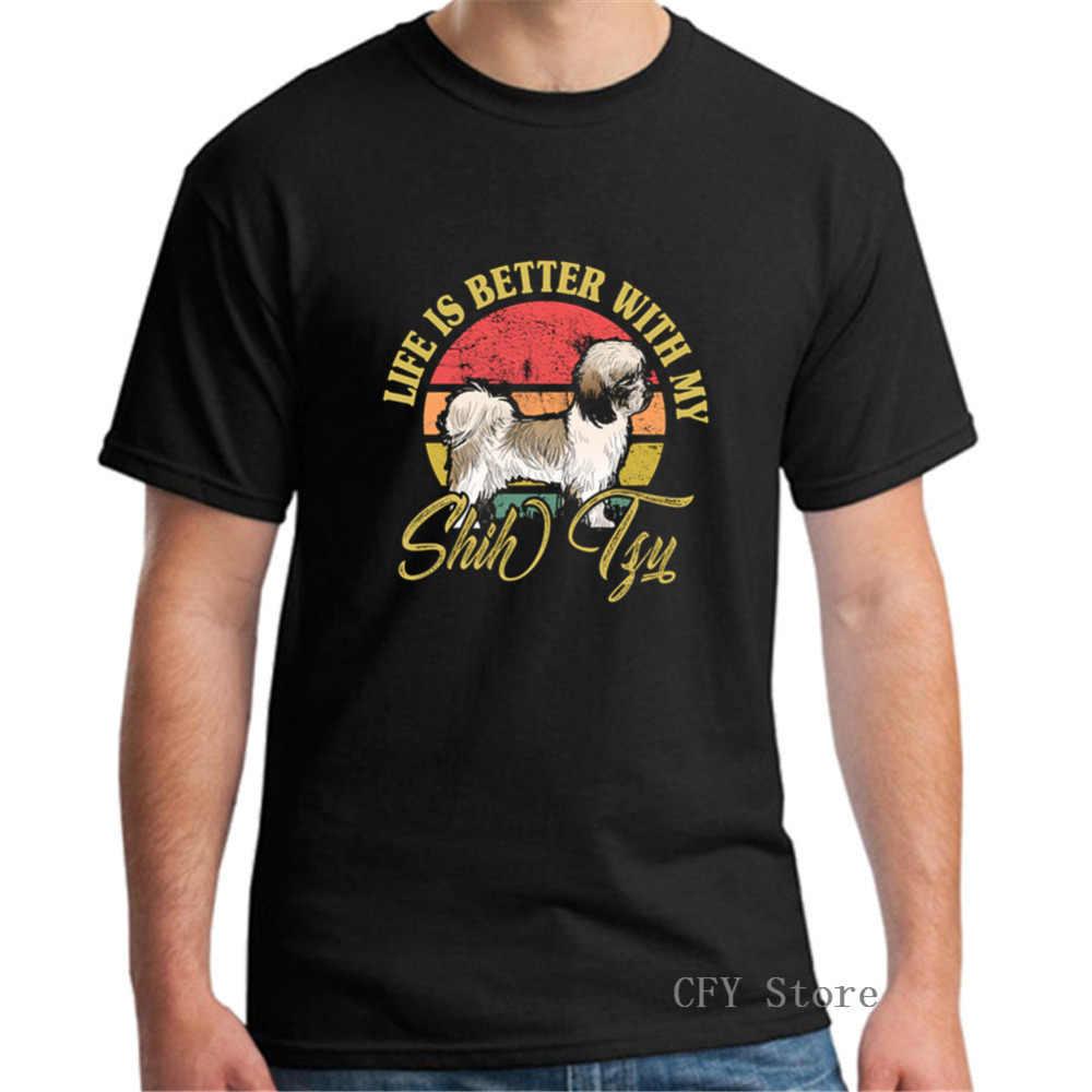 Shih Tzu винтажная рубашка жизнь лучше с My Shih Tzu собака удобные все хлопковые мужские футболки