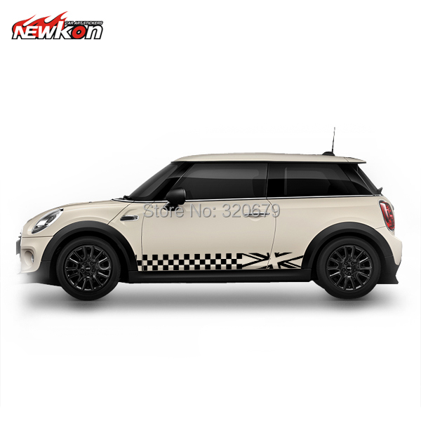 Car styling checkered union jack flag side stripes graphic side doors vinyl decal fit any mini cooper car stickers and decals in car stickers from