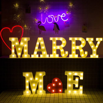 26 Letters Fun White Plastic LED Night Light Marquee Sign Alphabet Lights Home Club Outdoor Indoor Wall Decoration Lamp