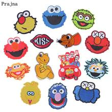 Prajna Sesame Street Elmo Patches Iron-On Embroidered Patch Cute Monkeys Accessories For Clothing DIY Stickers On Kids T-shirt(China)