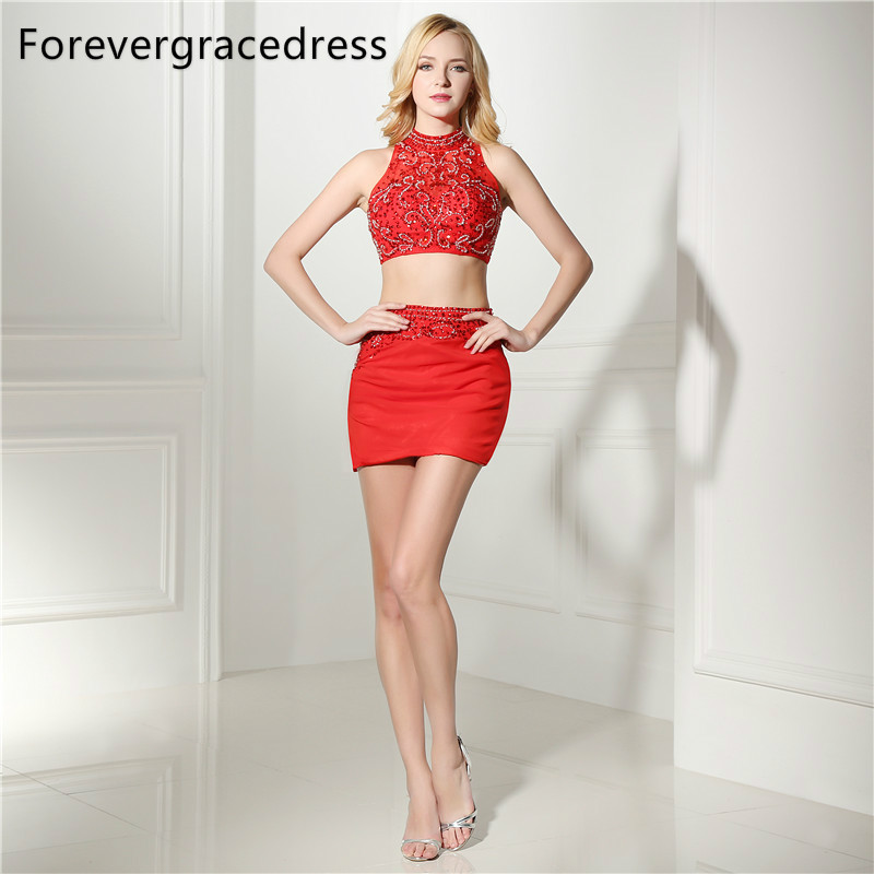Forevergracedress Real Photos Red Sheath   Cocktail     Dress   Sexy Beaded Crystals Mini Short Homecoming Party Gown Plus Size
