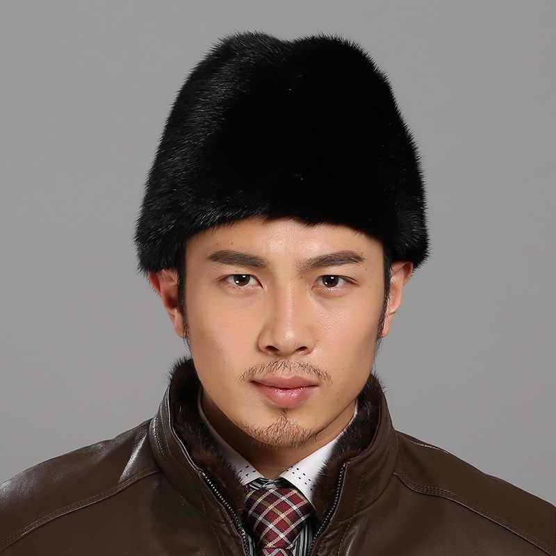 Detalle Comentarios Preguntas sobre Pieles de animales sombrero para hombres  real Mink Pieles de animales caliente sombrero hecho a mano del día de  padre ... 00569fe86e5