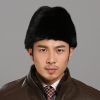 Fur Hat For Men Real Mink Fur Warm Hand Made Hat Father's Day Winter Cotton&Polyester Lining Vintage Gentleman Russian Hat