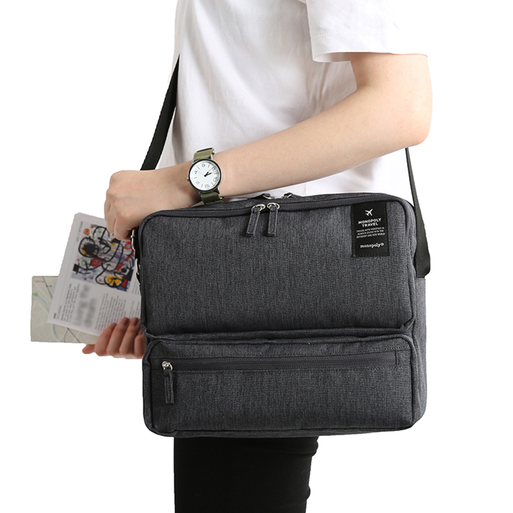 Travel Document Organizer Bag Passport Portfolio Storage Holder Shoulder Bag Business Messenger Briefcase Men Women City Bag