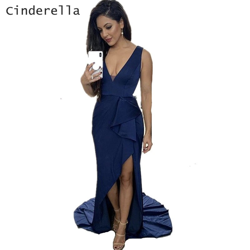 Cinderella Navy Blue V-Neck Sleeveless Side Slit Mermaid Sweep Train Satin Women   Bridesmaid     Dresses   Elegant Wedding Party Gowns