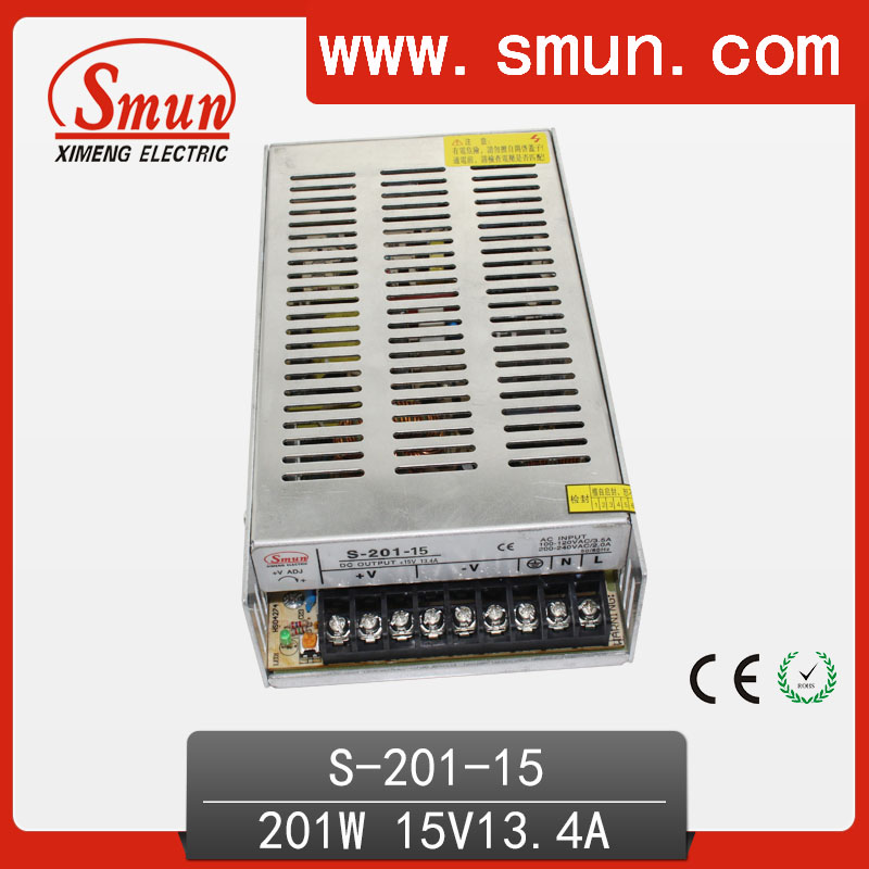Smun 201W 15V 13.4A Single 15 volt Output Switching Power Supply for LED Strip Light Power Supply 201w led switching power supply 85 265ac input 40a 16 5a 8 3a 4 2a for led strip light power suply 5v 12v output
