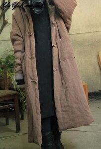 Image 3 - YoYiKamomo Donne Parka Inverno Vintage Caldo A Maniche Lunghe Tasca di Colore Solido Con Cappuccio Spessa Casuale Allentato Breve Cappotto Lungo
