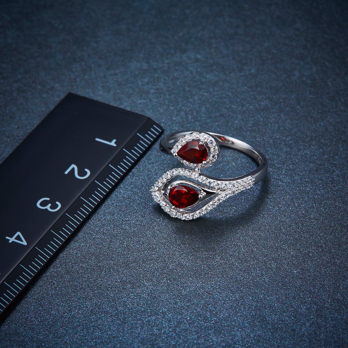 Hutang By Pass Ring Natural Garnet Solid 925 Sterling Silver Gemstone Fine Jewelry Rings ...