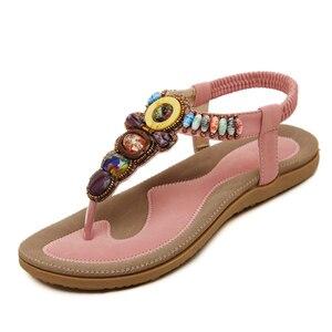 Image 3 - BEYARNE Woman Sandals Bead Bohemian Clip Toe Comfortable Thong Shoes Boho Elastic Band Back Strap Flat Beach Shoes Plus Size 41