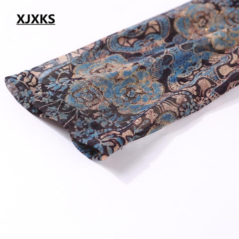 Xjxks Chiffon Impresión down Verano Media Oficina Collar Picture Elegante Tops Color 1861 Camisas De Alta Manga Turn Calidad Señoras Blusas Mujeres rrqBz