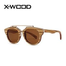 X-Wood Fashion Round Circle Polarized Vintage Retro Wooden Frame  Sunglasses Men Women High Quality Zebra Wood Mirror Sunglasses