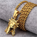 Hip Hop Jewelry Gold Plated American Rebel Statue Of Liberty Pendant Necklace Women Rebellious Masked Goddess For Gift