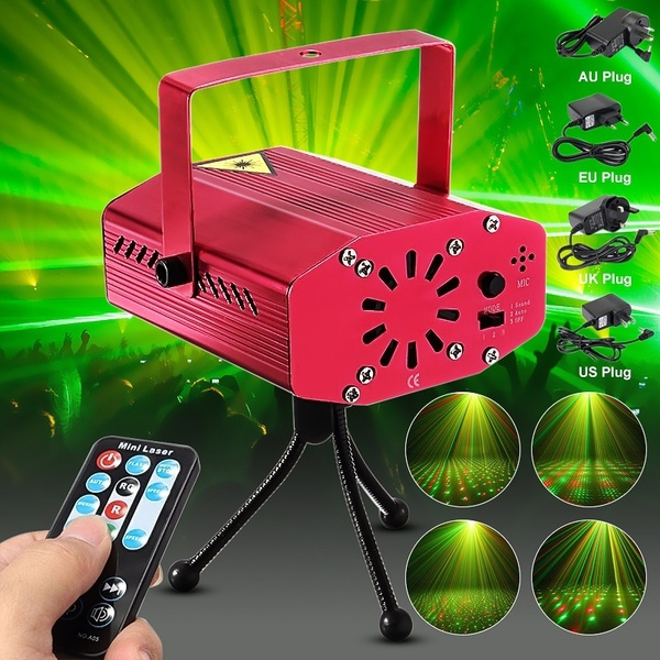 HENYNET Portable Mini R & G Auto/Voice Mic Control Xmas Dj Disco Party Led Laser Stage Light Lighting Projector Remote-Rose