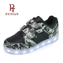 ФОТО pu tian boys led luminous sneakers usb charging lighted girls shoes colorful unisex led shoes high quality gift size 25-37
