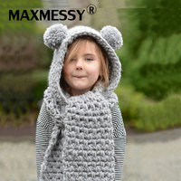 MAXMESSY New Arrival Winter Kids Crochet Hooded Hat Scarf Set Cute Pompoms Warm Thick Knit Beanies