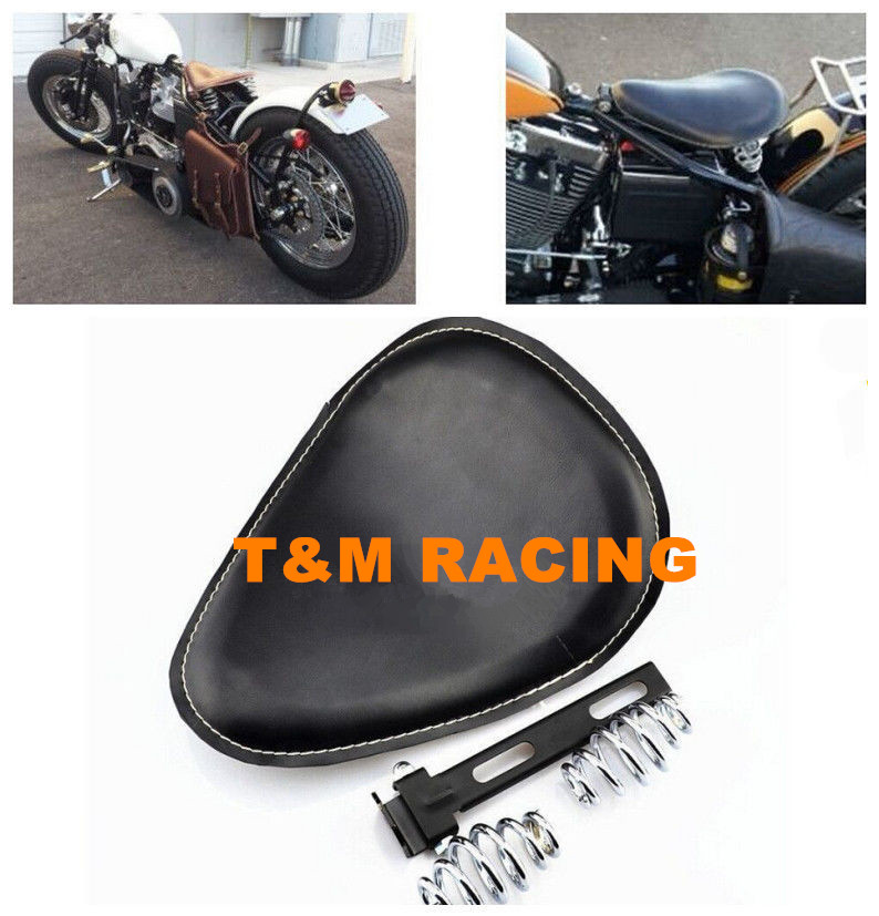 Leather Motorcycle Spring Solo Bracket Seat For Harley Chopper Bobber Custom 1